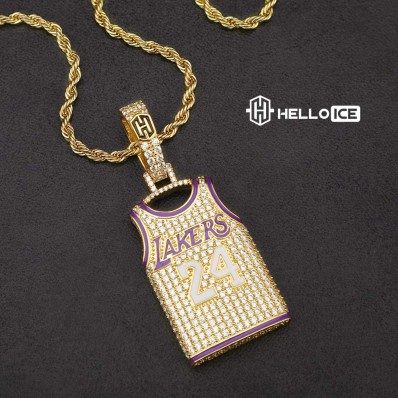 helloice iced lakers kobe bryant 24 jersey pendant in gold