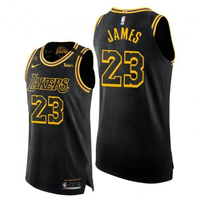lakers black jersey authentic