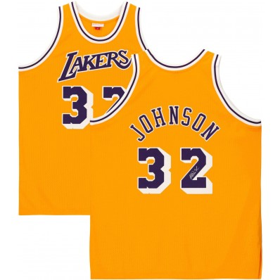 magic johnson los angeles lakers authentic jersey signed