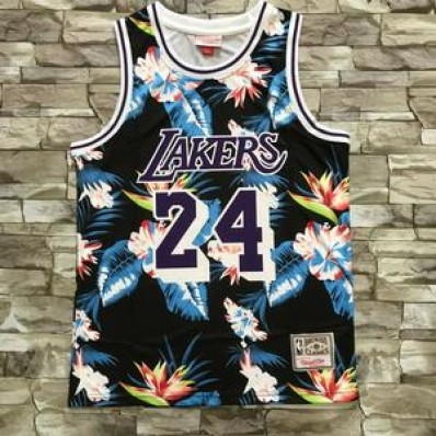 new kobe bryant los angeles lakers jersey #24 flower edition mens