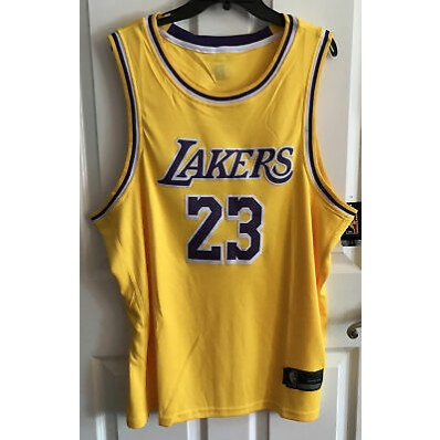 nwt #23 lebron james yellow los angeles lakers men's gold sewn jersey