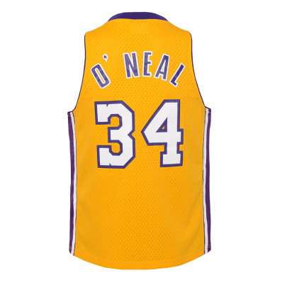 youth los angeles lakers shaquille o'neal swingman gold jersey